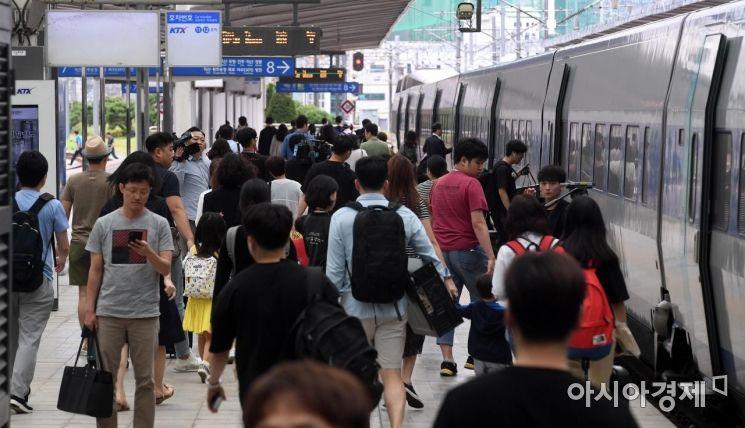 [포토] 귀성객들로 붐비는 서울역 승강장