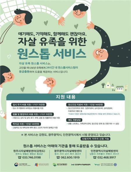광주·인천·강원 일부 지역서 자살 유족 원스톱 지원 서비스