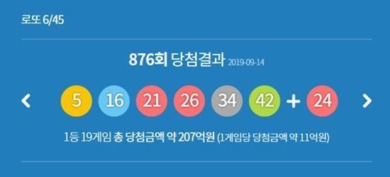 876회 로또 당첨번호 / 사진=동행복권