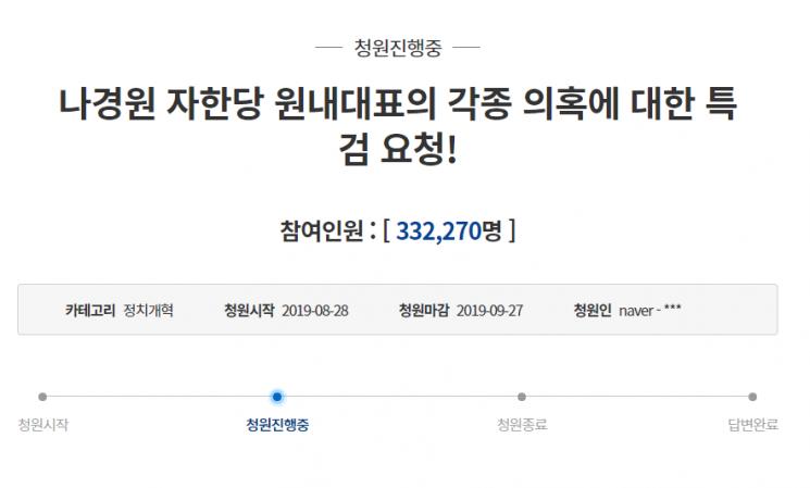 """""""나경원 자녀 의혹 특검해야"""" 국민청원 30만 돌파…靑 어떻게 답할까"""