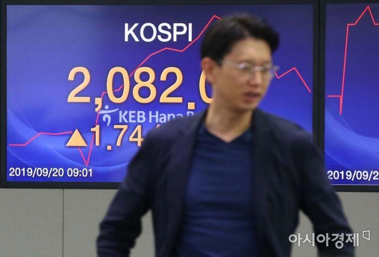 20일 코스피 지수가 전 거래일보다 0.51포인트(0.02%) 오른 2,080.86에 장을 시작했다. 이날 서울 을지로 KEB하나은행 딜링룸에서 딜러들이 업무를 보고 있다. /문호남 기자 munonam@