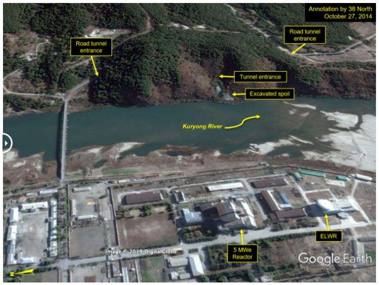 38노스가 공개한 북한 영변 핵단지 인근 지하시설 위성사진. 터널 입구가 영변 핵단지와 도로로 연결돼 있다. <이하 사진=38노스 홈페이지 캡쳐>