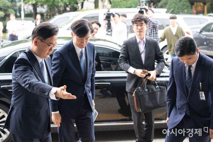 [포토]의정부지검 도착한 조국 장관