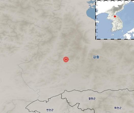 """기상청 """"북한 평강에서 규모 3.5지진…자연지진으로 분석""""(상보)"""