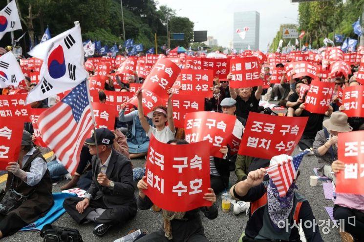 [포토]서울성모병원 앞 조국 구속 촉구하는 보수단체