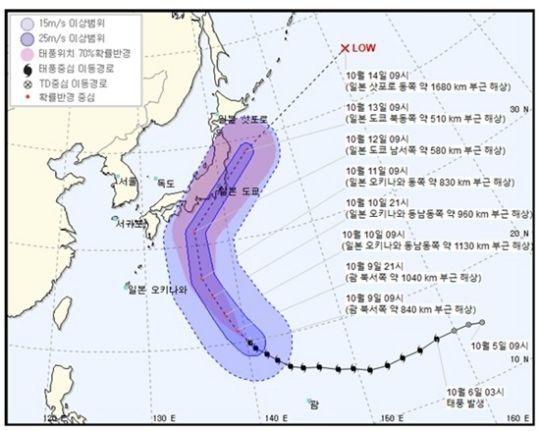 제19호 태풍 '하기비스' 예상 이동 경로 / 사진=기상청