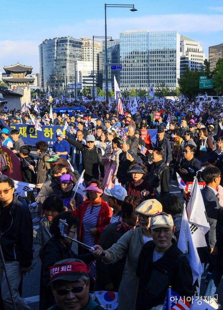 [포토]조국 장관 사퇴 촉구하며 행진