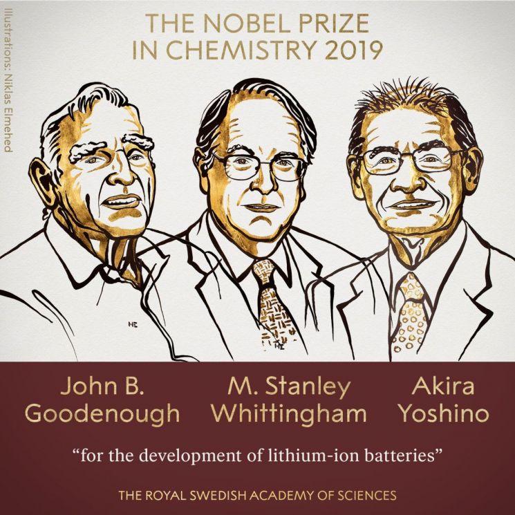 올해 노벨 화학상 리튬이온 배터리 연구 화학자 3명 공동수상(상보)