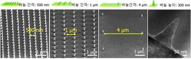 나노바늘구조 지압패치 제작 과정과 전자현미경 이미지