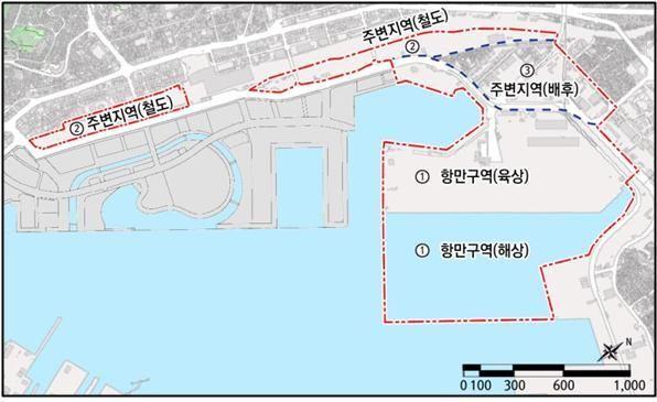 부산항 북항 2단계 항만재개발 기본계획 대상구역.