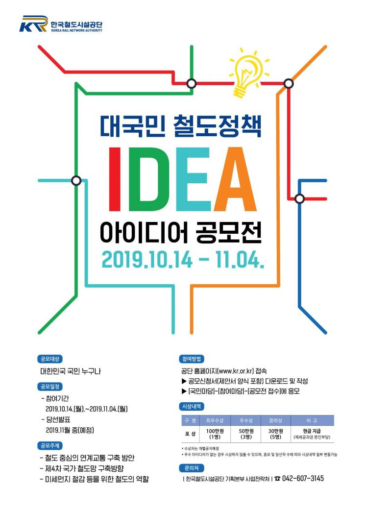 철도정책 아이디어 공모전 포스터. 한국철도시설공단 제공