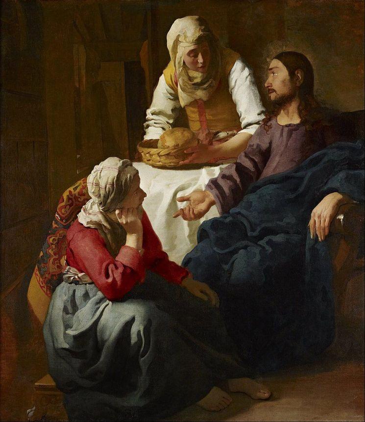 요하네스 페르메이르 '마르타와 마리아의 집에 있는 그리스도', 1654~1656년, 158.5x141.5cm, 스코틀랜드 국립미술관, 영국 에든버러(브레디우스가 찾아낸 페르메이르의 그림. 페르메이르 작품 가운데 종교화로는 유일하다.)