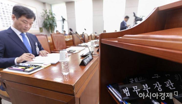 15일 국회에서 열린 법사위원회에 법무부 등에 대한 국정감사장에 법무부 장관 명패가 한쪽으로 치워져 있다./윤동주 기자 doso7@