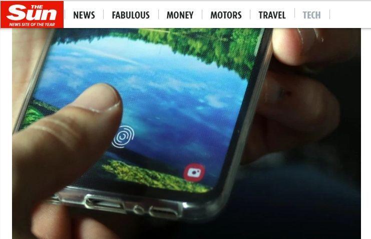 보안 논란에 휩싸인 갤럭시S10 디스플레이 내장형 지문인식 센서(사진=영국 더 썬 캡처)