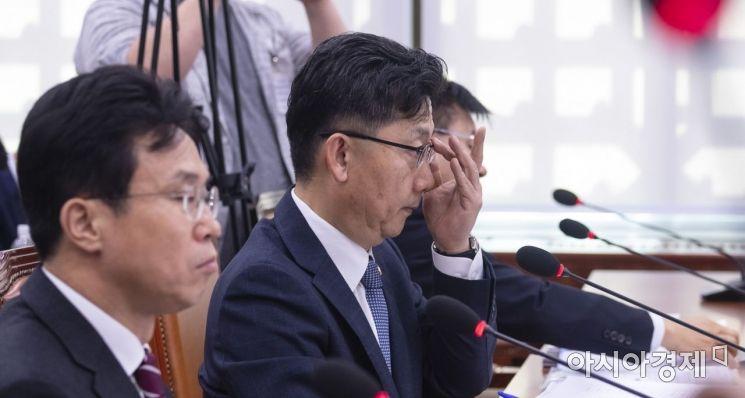 [포토] 안경 바로쓰는 김현수 장관