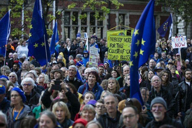 """지난 19일(현지시간) 영국의 유럽연합(EU) 탈퇴를 반대하는 시위대가 런던 국회의사당 앞에서 영국 국기와 EU기를 들고 서 있다. 이들은 """"국민이 최후의 발언권을 가져야 한다""""며 제2국민투표 개최를 요구했다. EU와 브렉시트 합의안을 마련하고도 의회 표결에 부치지 못한 보리스 존슨 영국 총리는 이르면 21일 하원 승인투표를 추진한다. [이미지출처=EPA연합뉴스]"""