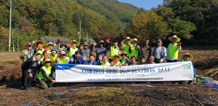 지난 21일 허충회 NH농협은행 부행장(앞줄 왼쪽부터 일곱 번째)과 리스크관리부문 직원들이 경기도 양평 신당마을에서 일손돕기를 한 뒤 기념사진을 촬영하고 있다. 사진-농협은행