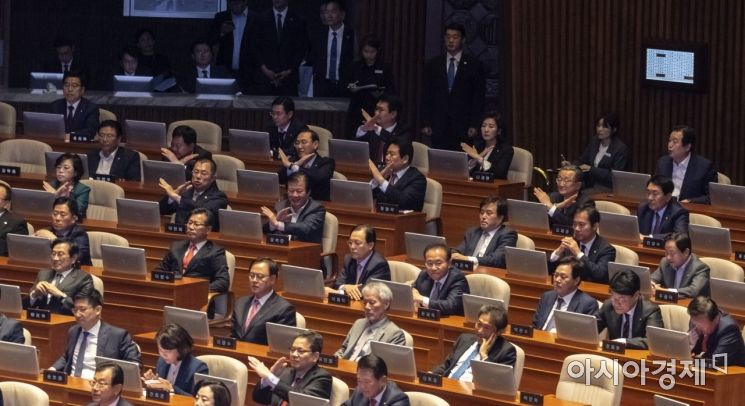 [포토] 항의 표시하는 자유한국당 의원들