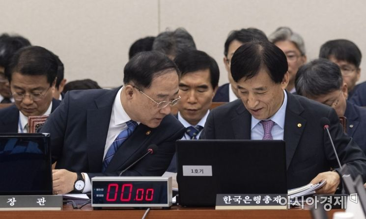 [포토] 한국은행 자료 보는 홍남기 부총리