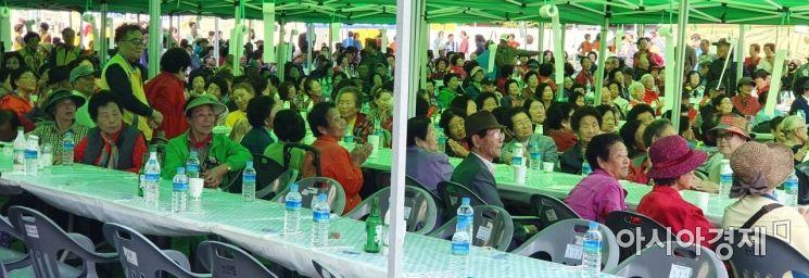 제8회 달뫼마을 동민한마음 축제에 참여한 주민 모습.