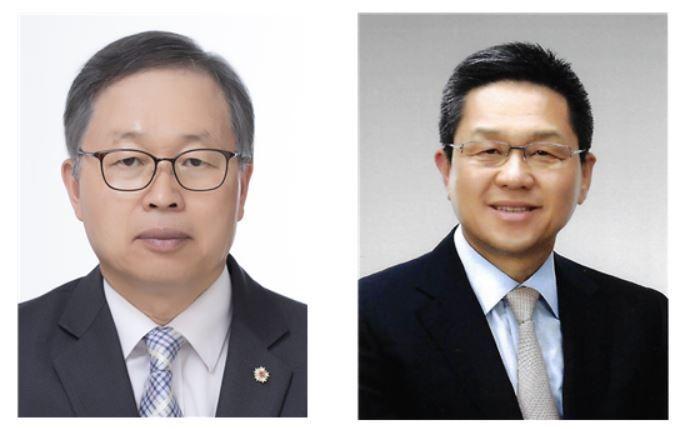 장관섭 영광YKMC 대표(왼쪽)와 정한성 신진화스너공업 대표.