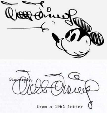 실제 월트 디즈니의 서명