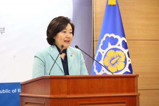 박영선 중소벤처기업부 장관이 12일 정부세종청사에서 '제2차 규제자유특구 지정' 관련 브리핑을 하고 있다.
