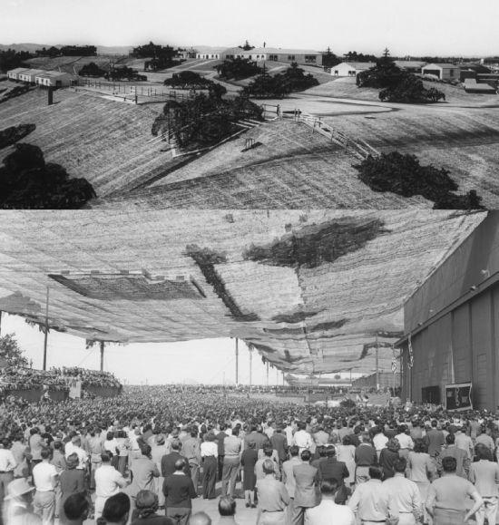 제2차 세계대전 당시 미국 캘리포니아의 교외 한 마을의 모습(사진 위). 그러나 이 마을은 록히드마틴의 군수공장입니다(아래). 이렇게 많은 사람들이 위장막으로 가려진 곳 아래서 일하고 있었습니다.[사진=www.lockheedmartin.com]