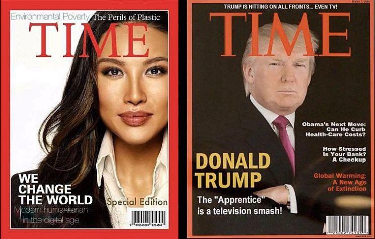 미나 장 부처장과 도널드 트럼프 미국 대통령이 등장한 미 시사주간 타임의표지는 모두 가짜이다.(NBC뉴스 캡처)