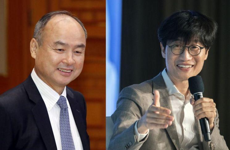 손정의 소프트뱅크 회장(왼쪽)과 이해진 네이버 글로벌투자책임자(GIO)