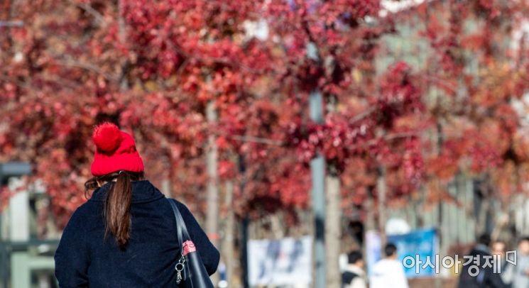 서울 한 낮 기온이 4.8도에 머물며 쌀쌀한 날씨가 이어지고 있는 14일 서울 서대문구 연세대에서 학생들이 외투를 입고 발걸음을 재촉하고 있다./강진형 기자aymsdream@