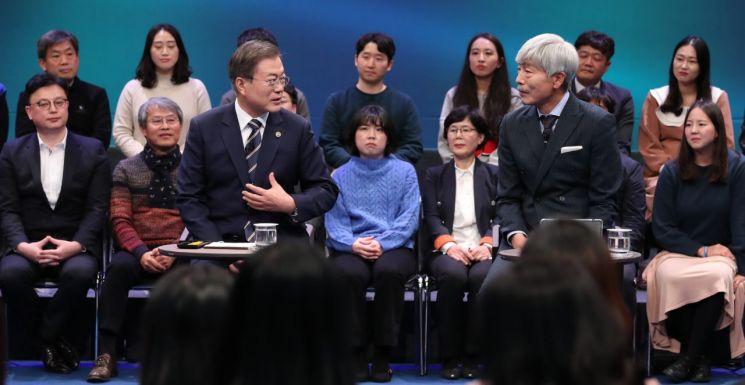 문재인 대통령이 19일 오후 서울 상암동 MBC에서 '국민이 묻는다, 2019 국민과의 대화'를 하고 있다. [이미지출처=연합뉴스]