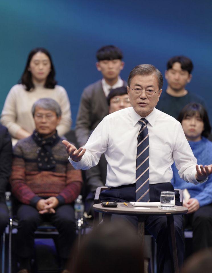 문재인 대통령이 19일 오후 서울 상암동 MBC에서 '국민이 묻는다, 2019 국민과의 대화'를 하고 있다. <이하사진=연합뉴스>