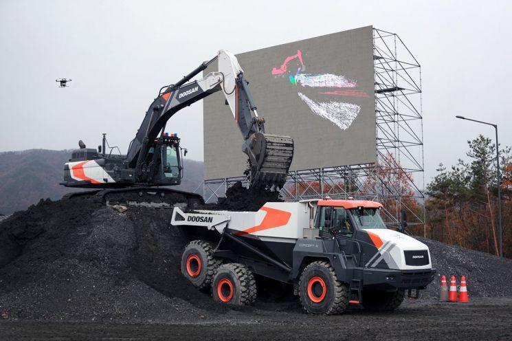 두산인프라코어는 20일 충청남도 보령에 위치한 자사 '성능시험장'에서 드론, 굴착기, 힐로더 등을 활용한 무인ㆍ자동화 건설현장 종합 관제 솔루션인 '콘셉트-엑스(Concept-X)'를 공개했다. 무인 굴착기가 덤프트럭에 토사를 옮기고 있다.