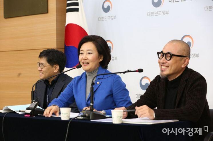 20일 정부청사에서 진행된 K-스타트업 위크 컴업 2019' 브리핑에서 박영선 장관이 발언하고 있다. 오른쪽은 김봉진 컴업 2019 공동조직위원장.
