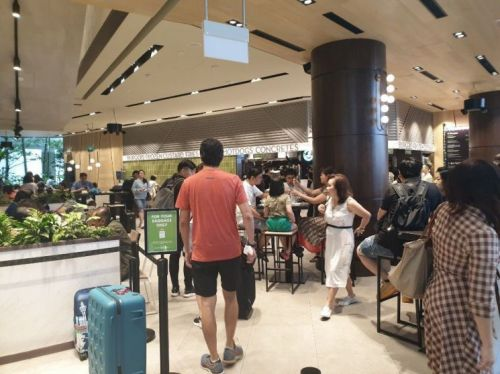 쉐이크쉑 싱가포르 창이국제공항 주얼점이 고객들로 붐비고 있다.