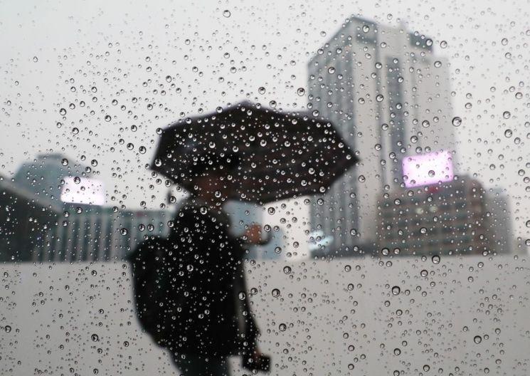 서울지역에 비가 내린 지난달 24일 오후 서울광장 인근에서 시민들이 우산을 쓴 채 걷고 있다. / 사진=연합뉴스