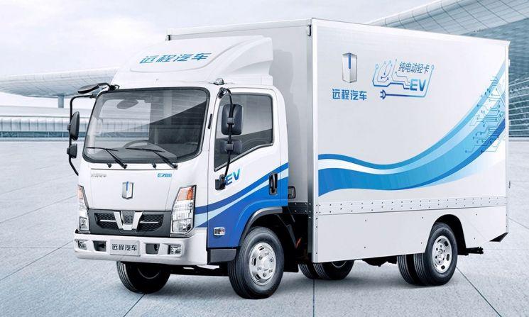 포스코인터내셔널과 중국 지리자동차, 국내기업 아이티엔지니어링이 함께 해외 시장에 수출하는 지리상용차의 소형전기트럭 'e200'