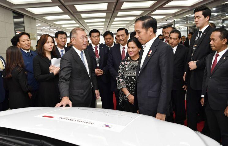 2019년 조코 위도도 인도네시아 대통령이 현대차 울산공장을 찾았을 당시 정의선 현대차 당시 수석부회장이 코나 전기차에 대해 설명하고 있다.<현대차 제공>