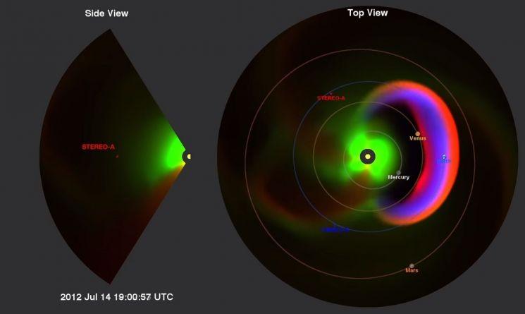 태양이 원자폭탄의 수십 억 배에 하는 에너지를 방출하는 모습(사진 오른쪽). 지구의 기능은 거의 정지된다고 할 수 있습니다. [사진=NASA]