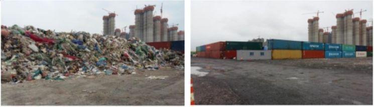 인천 송도의 불법수출 폐기물(6500t)과 올해 3월 처리 완료 후 모습/사진 제공=환경부