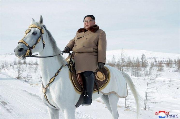 김정은 북한 국무위원장이 군 간부들과 함께 군마를 타고 백두산을 등정했다고 조선중앙통신이 4일 보도했다. 사진은 백마를 탄 김 위원장.
