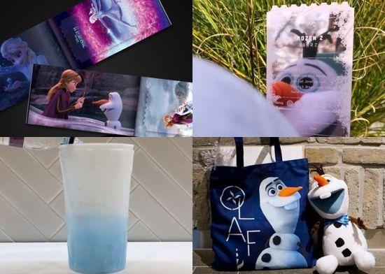 메가박스의 '겨울왕국2' 오리지널 티켓, 체인지 컵, 올라프 에코백과 인형.
