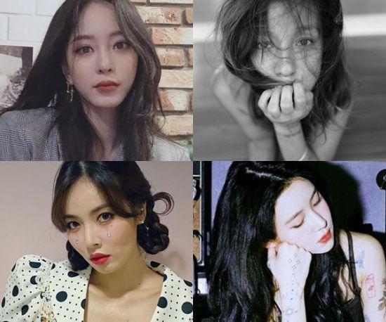 배우 한예슬, 가수 이효리, 백예린, 현아. 사진=한예슬, 이효리, 백예린 현아 SNS