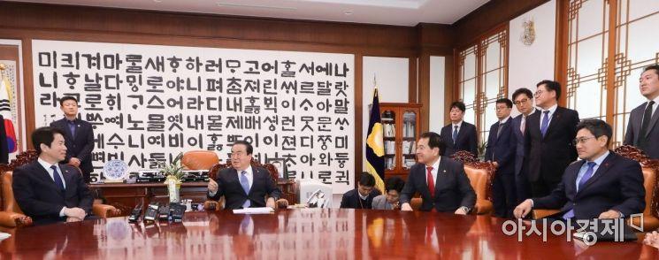 [포토] 교섭단체 원내대표 만나는 문희상 의장
