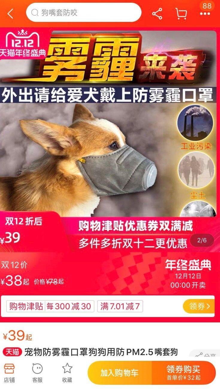 중국, 강아지도 미세먼지 마스크…스모그 대비용품 '불티'