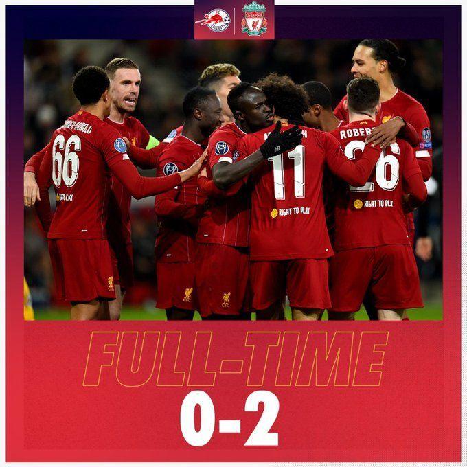 2-0으로 잘츠부르크에 승리한 리버풀/사진=리버풀 공식 트위터 캡처
