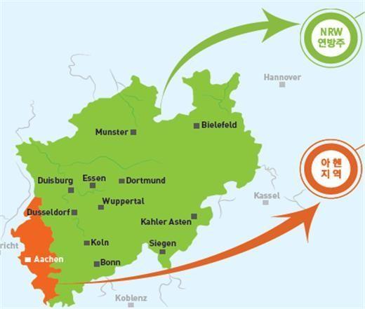 한-독 소재·부품·장비 기술협력센터가 세워진 독일 NRW(노르트라인베스트팔렌) 주와 아헨 지역 모습. 초록색이 NRW주, 주황색이 아헨 지역.(자료=산업통상자원부)