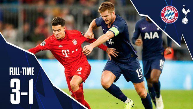 3-1로 뮌헨에게 패배한 토트넘/사진=토트넘 공식 트위터 캡처