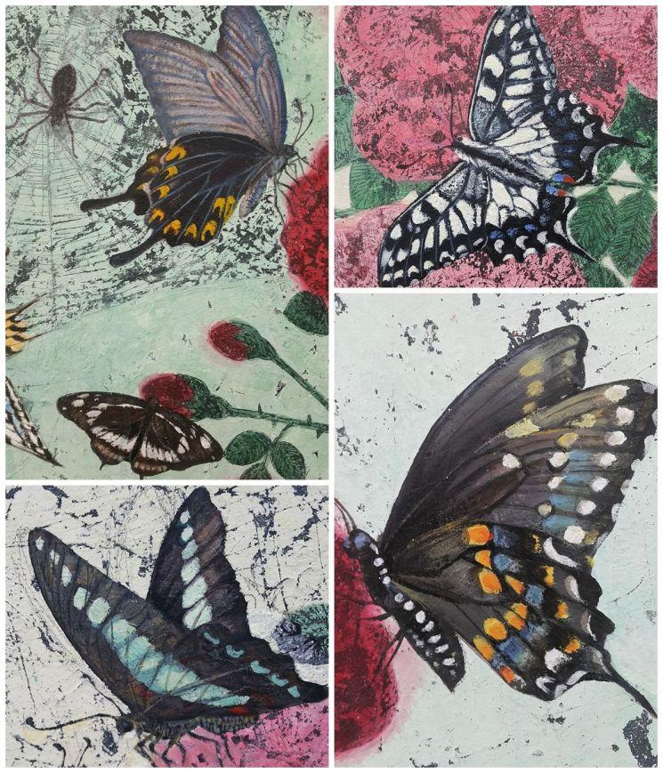국제갤러리에서 하고 있는 문성식 개인전 '아름다움, 기묘함, 더러움'의 전시 작품 속 다양한 나비들